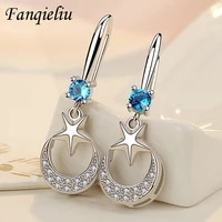 fanqieliu high quality crystal jewelry vintage moon star solid sterling 925 silver drop earring for woman fql21118
