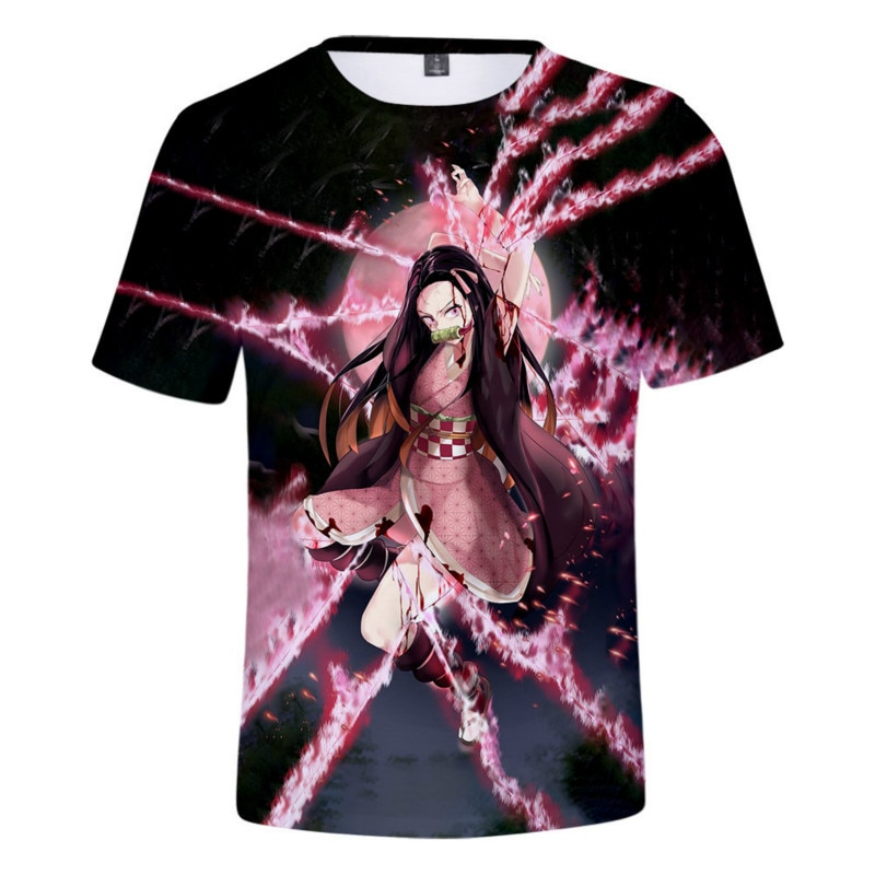 2021 latest popular anime Demon Slayer's Blade digital printing 3D trend casual short-sleeved T-shirt trend digital printing short sleeved t shirt