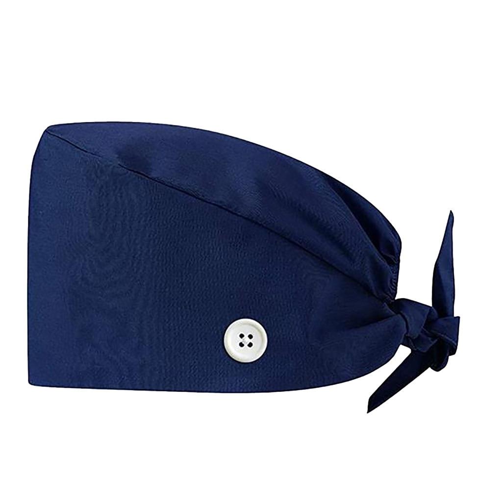 Fashion Solid Print Work Hat Casual Unisex Scrub Cap With Button Outdoors Cap Nurse Work Hat 2020 Защитный колпачок #SRN