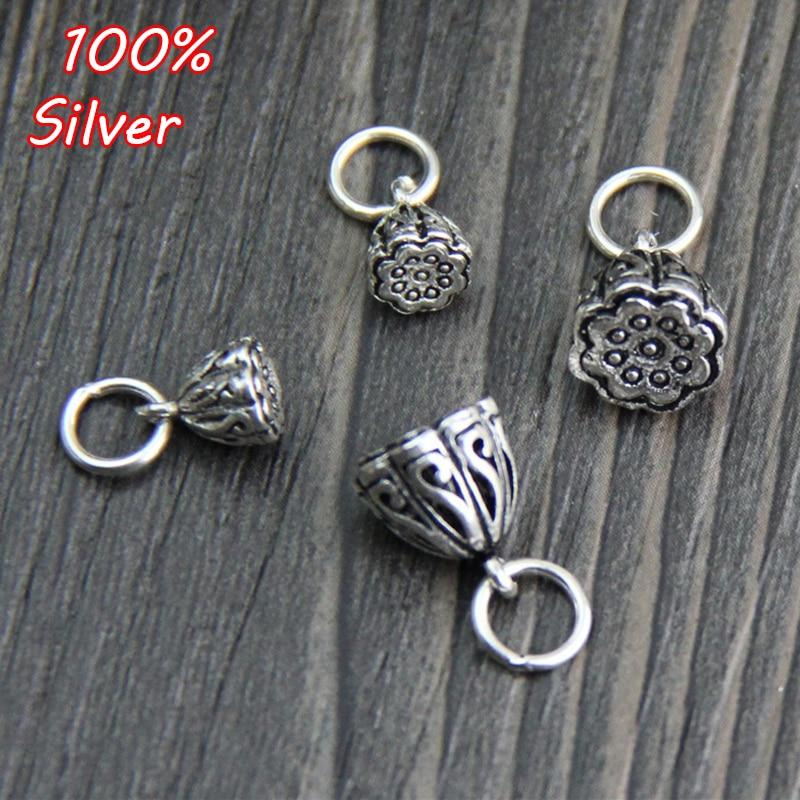 Retro 925 prata esterlina cor encantos artesanato esculpido lótus pingente diy jóias femininas pequenos acessórios para o presente de aniversário