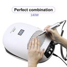 140W 3-en-1 perceuse à ongles manucure Machine & ongles poussière aspirateur & UV lampe extracteur ventilateur pour manucure ongle outil dépoussiéreur