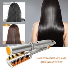 2 in 1 Haar Curler und Richtstab Twist Haar Styler Heißer Kamm Pinsel Einstellbare Temperatur Rolle Haarglätter