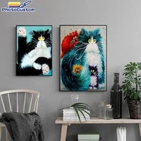 photocustom diy frame painting by numbers colorful cat 60x75cm for adults paint by numbers animals diy gift home decors artcraft