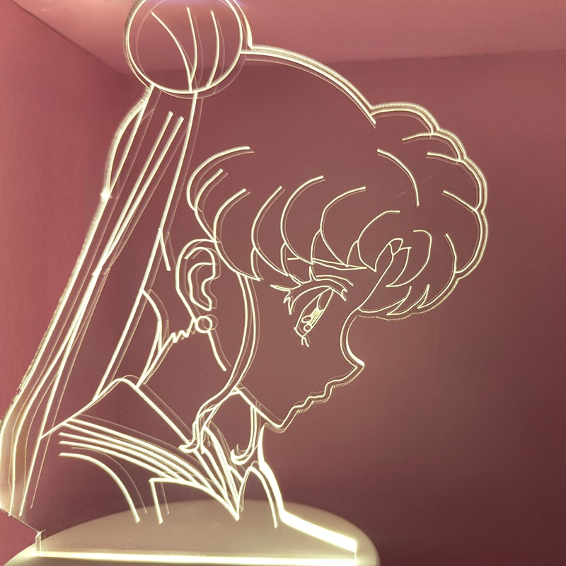 HY Anime Sailor Moon 3d Night Light Creative Bedroom Bedside LED Table Lamp Decoration Girls Sleep Color Changed Nightlight Gift