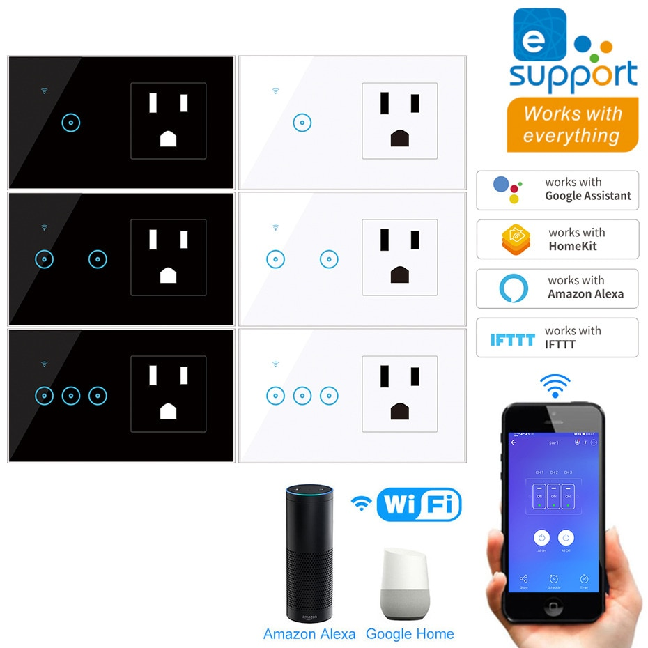 لنا القياسية Wifi الذكية ضوء التبديل 1 2 3 عصابة 90V-240V AC الزجاج شاشة لوحة اللمس التحكم الصوتي اللاسلكية جدار wifi لنا المقبس