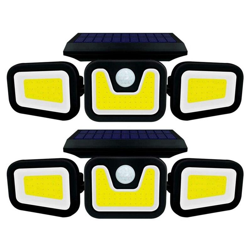 Outdoor Solar Rotatable Wall Light, Wireless Motion Sensor Light, IP65 Waterproof, Security 100COB Flood Light (2 Pcs)