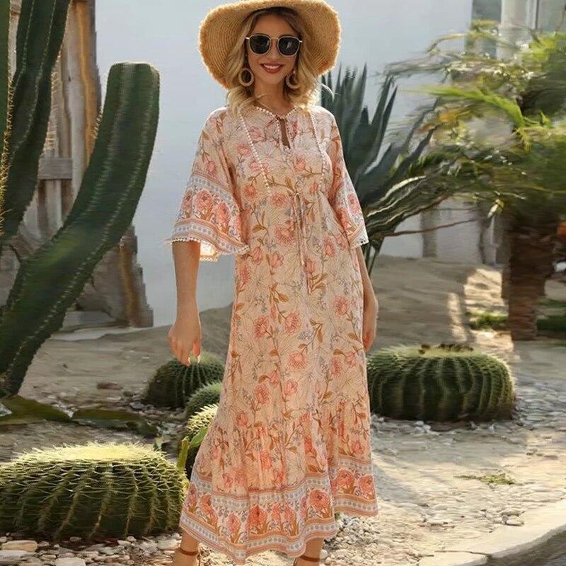 KHALEE Yosef Floral Maxi vestido de verano Vintage Boho Vestidos para mujeres manga corbata bolsillo informal de vacaciones vestido