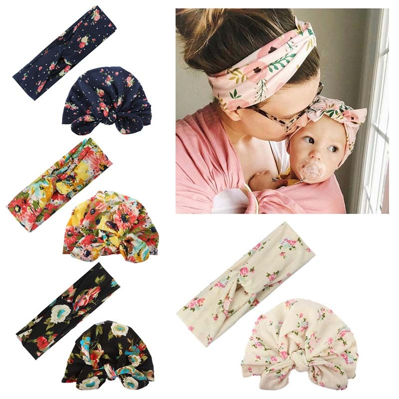 Mommy and Baby Printed Floral Scarf Parent-child Headband for Girl Sweat Towel Women Hairbannds Headwear Bebes Accesorios