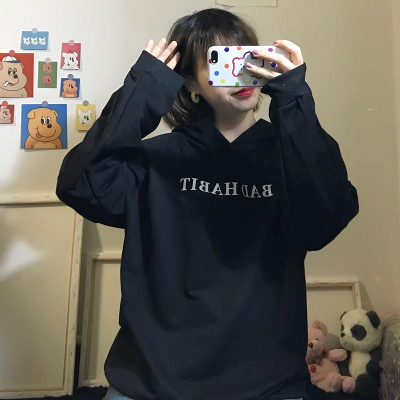 8472 # foto pequeño diablo ala de cola Anime suelto impreso-Fit BF pereza Harajuku Jersey Sudadera con capucha de la mujer abrigo
