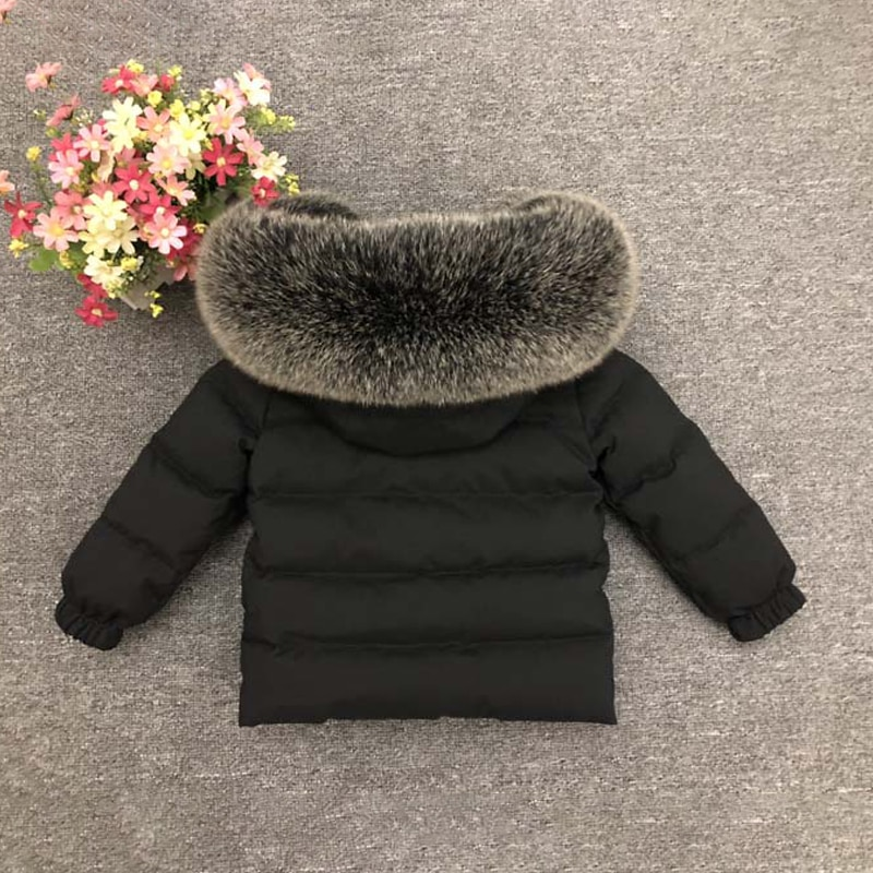 Natural Fur Hooded Boys Jacket Thick Warm Girls Winter Down Coat Short Children Parkas Clothes Windproof Kids Snowsuit Outfits enlarge