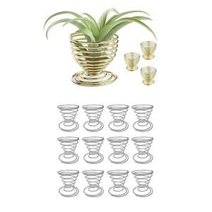 12Pcs Airplant Container Tillandsia Holder Plant Racks With 4Pcs Air Plants Holders,Air Plant Wall Hanger,Display Stand