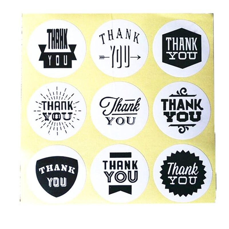 """90 pièces/lot belle 9 motif papier Kraft """"merci"""" papeterie étiquette autocollant étudiants bricolage joint autocollant pour produits faits à la main"""