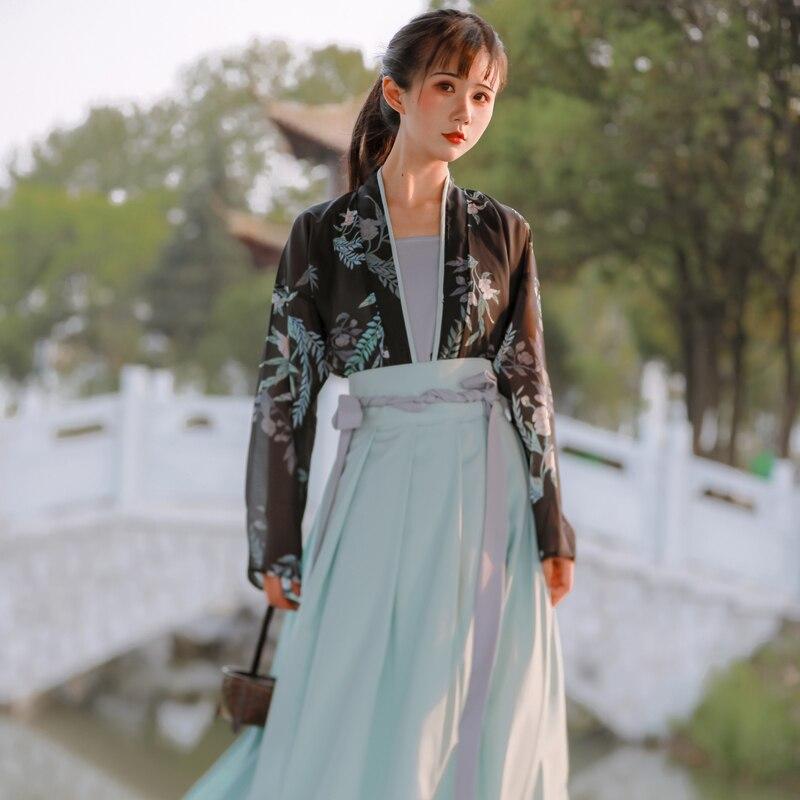 3 قطعة Hanfu الصينية التقليدية فستان الأزهار المطبوعة الأخضر الأسود الأصلي الجمال الشارع الشهير فستان حفلة الشباب نمط وتتسابق 2021