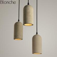 Vintage Cement Pipe Pendant Lights Loft Led Hanging Lamp for Kitchen Industrial Decor Home Light Fixtures Suspension Luminaire