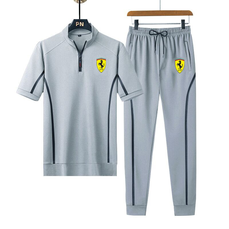 Костюм спортивный мужской из 2-х предметов, брендовая модная одежда для бега с принтом, летняя мужская одежда для фитнеса и бега на открытом ...