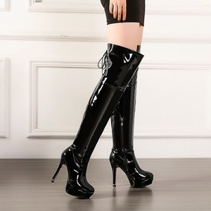 Boots High heel Overknee Long Boots Dance Woman Boots Patent Leather