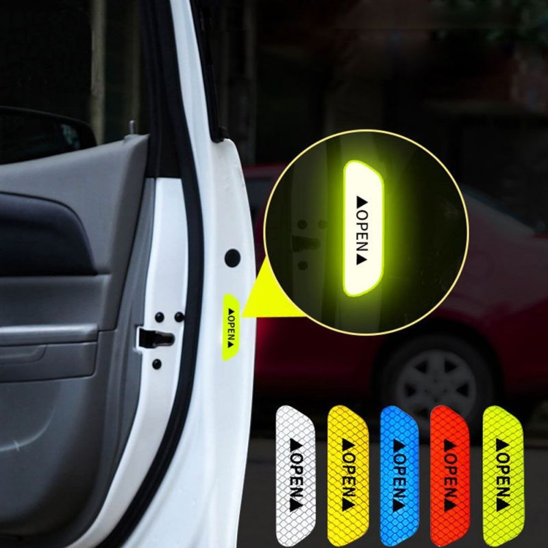 4 pçs carro reflexivo fita de advertência marca etiqueta para fiat 500 600 tipo punto stilo freemont cruz coroma panda idéia palio
