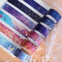 gold foil washi tape decorative washitape stationery starry sky japanese adhesive stickers school supplies 2m masking tape