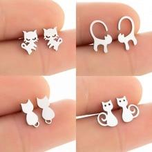 New Hot Sale Ladies Fashion Cute Mini Cat Earrings Silver Color Earrings Golden Cat Jewelry 2020 Tre