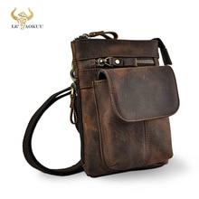 Original Leather Male Casual Design Mini Shoulder Messenger Crossbody bag Fashion Belt Waist bag Tra