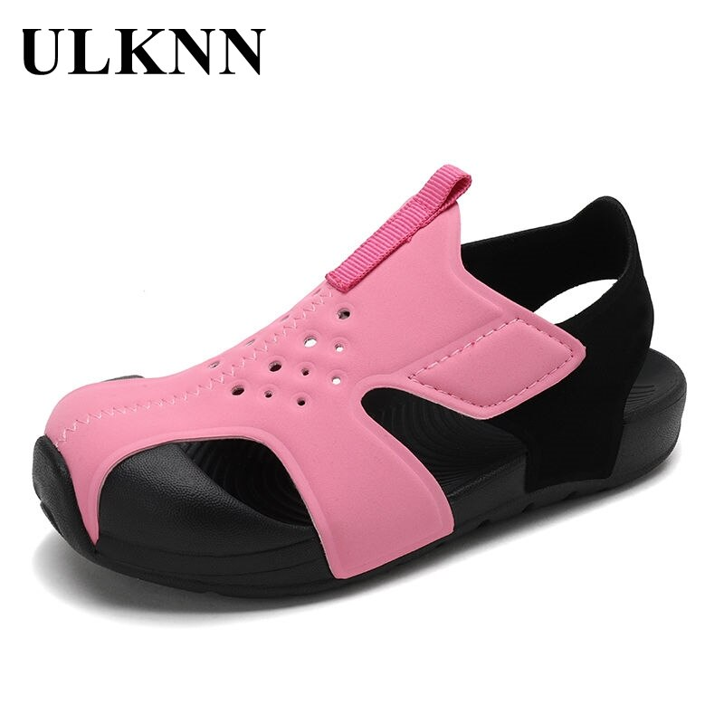 ULKNN Kids Cut-Outs Sandals Girls Summer Kids Shoes Boy's Shoes Flat Heel Sandals Princess Dress Pink Fashion Shoes Teenage Kids