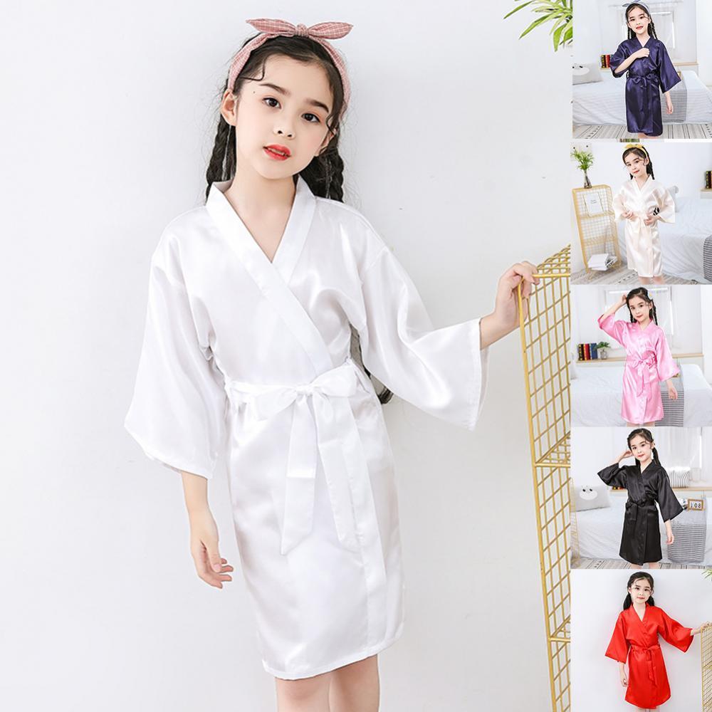 Summer Girl Silk Satin Top Pant Pajamas long sleeve Solid Button-Down Nightgown Robe Solid Color Bathrobe Sleepwear