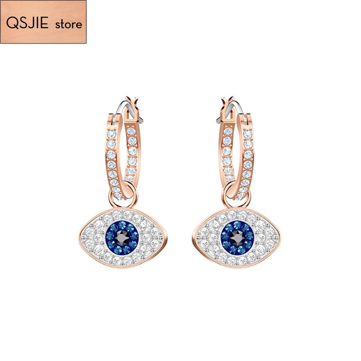 Wysokiej jakości Swa niebieskie z cyrkonią DUO pierścionek z oczkiem kolczyki wielobarwne różowe złoto oryginalne kolczyki