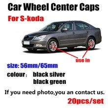 20 pièces/lot 56mm 65MM noir argent voiture roue moyeu capuchons couvercle central pour Skoda Octavia Fabia Rapid Yeti superbe Octavia A 5 A 7 2