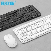 b o w rechargeable keyboard wireless stable 2 4ghz connectedsilent mouse keyboard quite and comfortable typing for computerpc