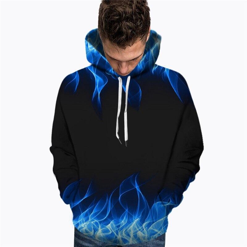 Sudadera con estampado de Fuego Azul para hombre, nueva moda de otoño e invierno, con estampado de llama, Blusa de manga larga y estampado en 3D 2019
