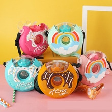 Donut Children Water Bottle Doughnut Silicone Rainbow Portable Kettle with Straw Water Cups Bottles