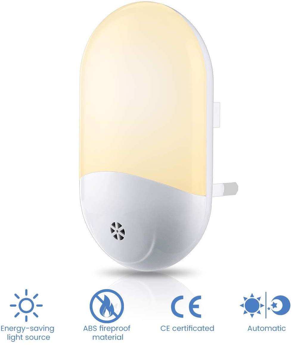 Luz de noche LED, enchufe la luz nocturna blanco cálido 4000 K-4500 K 110 V-220 V 0,5 W 15lm luz del Sensor óptico del atardecer al amanecer enchufe en la luz I