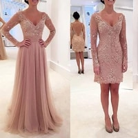 lace and tulle mother of the bride dresses formal wedding party gowns long sleeves v neck removable skirt dusty pink vestido de