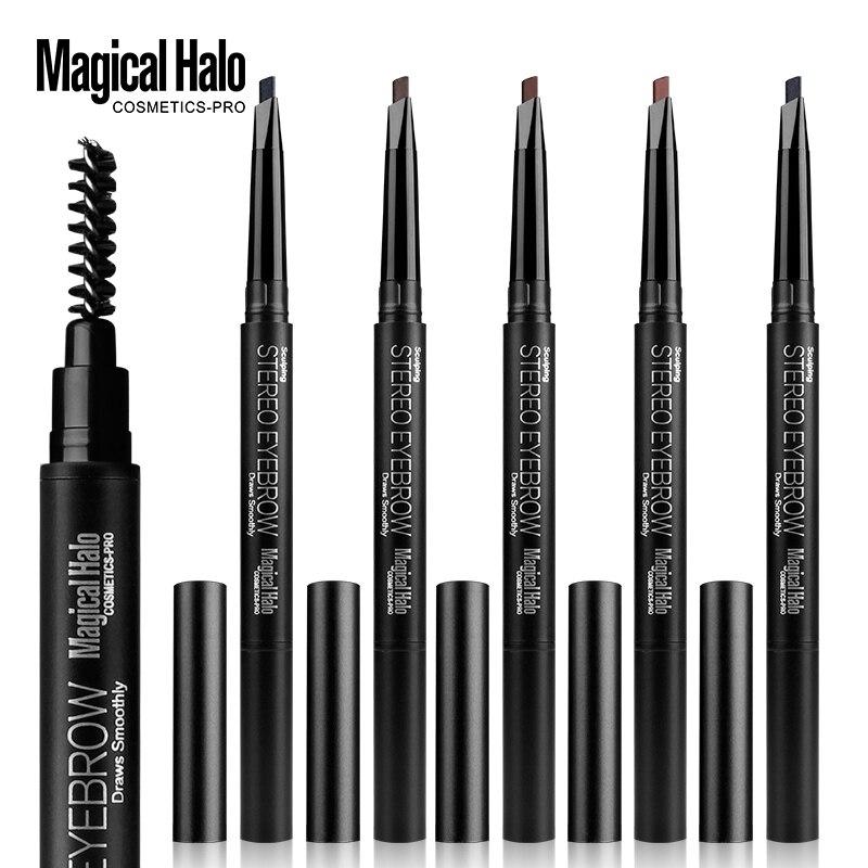 1 Uds. Delineador de cejas automático delineador de cejas lápiz cosmético herramientas de maquillaje 5 colores doble rotación ceja de larga duración pluma belleza