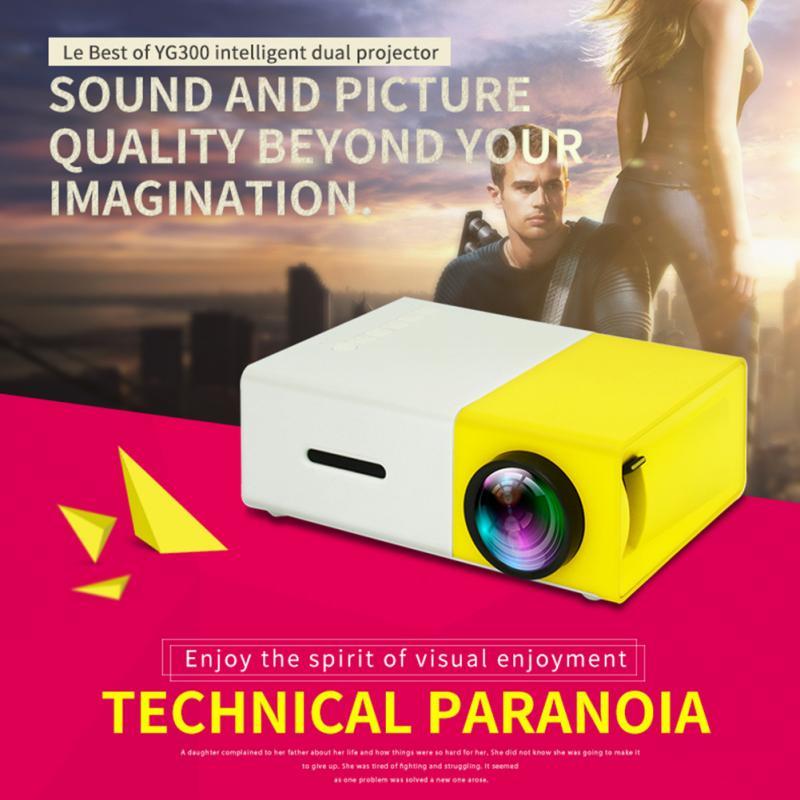 Miniproyector YG300 1080P con batería integrada, reproductor multimedia LED para casa inteligente,...