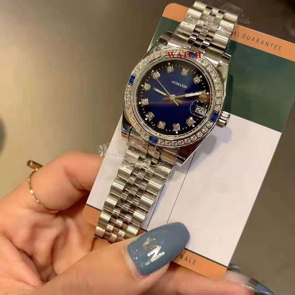 31mm ladies watch automatic mechanical sapphire 316L stainless steel blue dial waterproof ladies clock 12633
