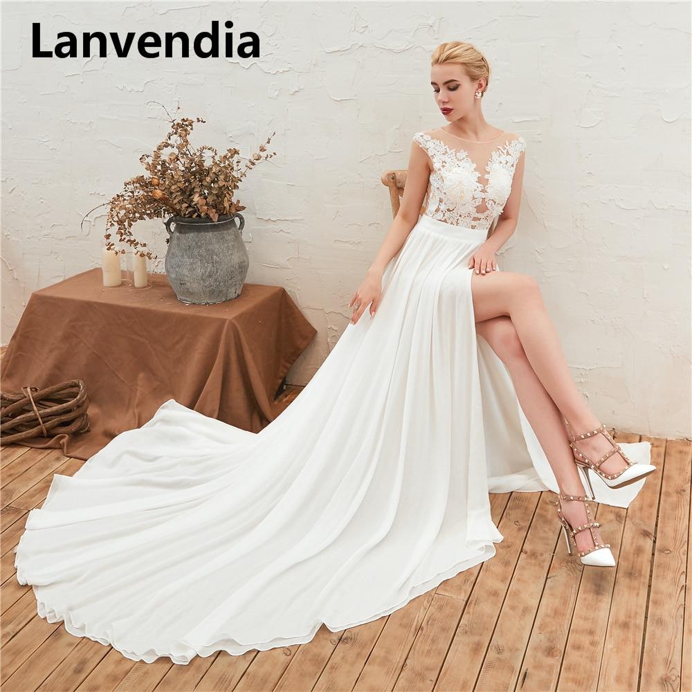 Lanvendia Simple White Boho Bohemian Beach Wedding Dress A-Line  High Split Chiffon Bridal Wedding Gowns Bride Dresses  2020 недорого