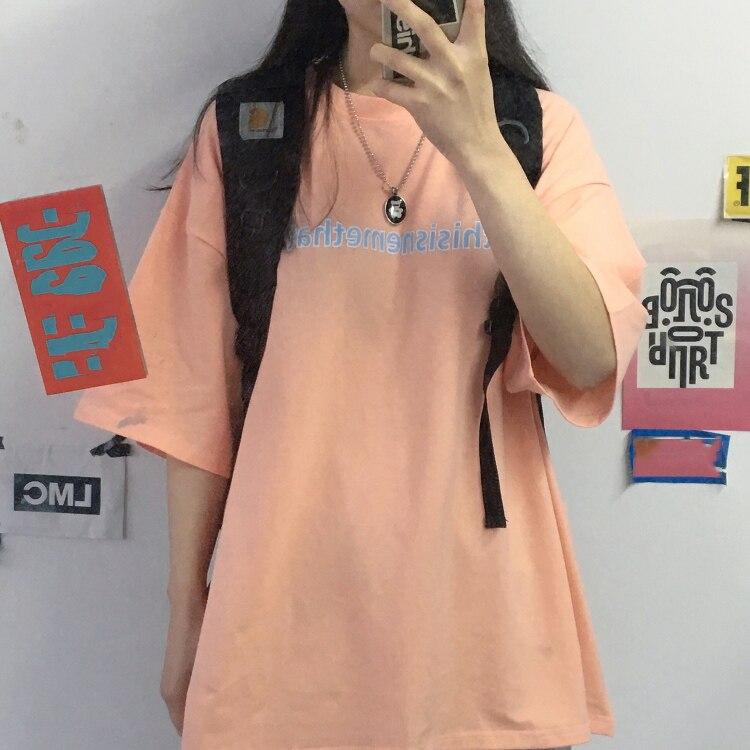 T-shirt Women's Summer 2021 Korean Ins Harajuku Style Orange Pink Versatile Letters Loose Short Slee
