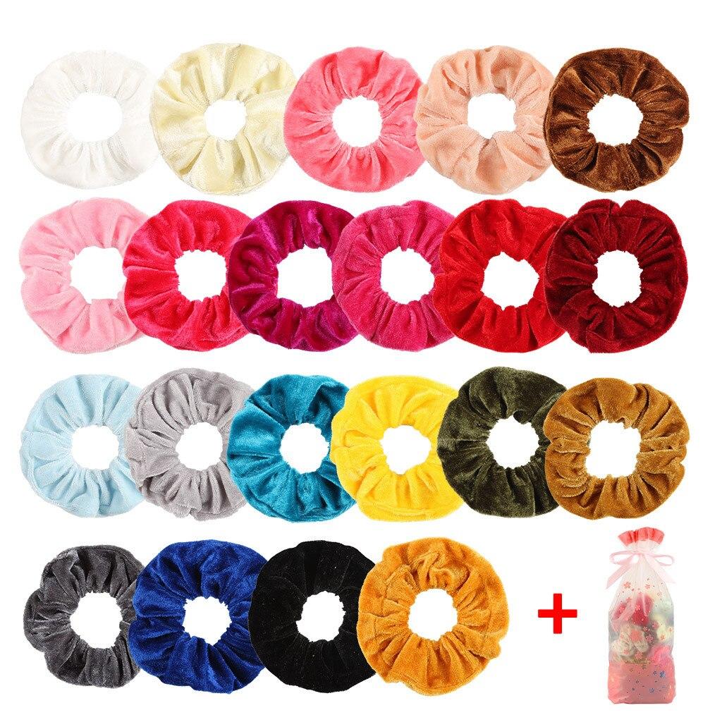 21 bandas elásticas de terciopelo para el cabello para mujeres o niñas, accesorios para el cabello, nuevas bandas para el cabello sólidas, pulsera de goma para mujer