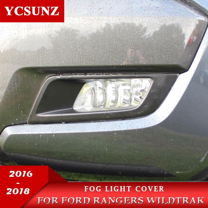 Accesorios exteriores de coche fibra de carbono embellecedor de cubierta de luz antiniebla para Ford Ranger T7 2016 2017 2018 Wildtrak