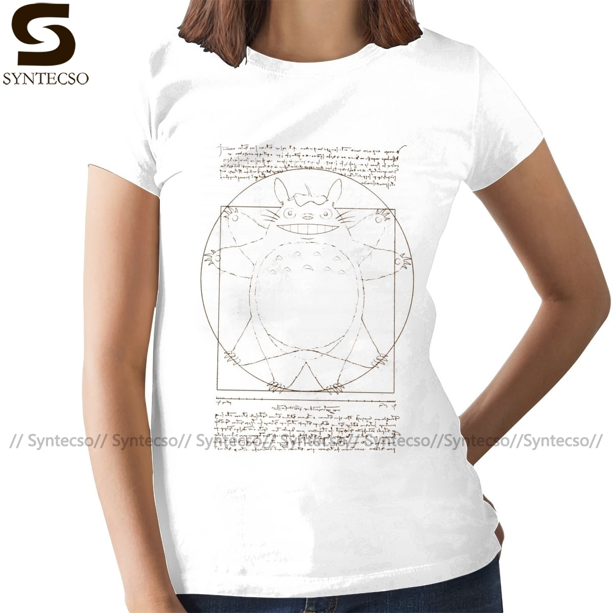 Mi vecino camiseta Totoro Vitruvian Neighbor camiseta nueva moda cuello redondo mujeres camiseta XL señoras camiseta
