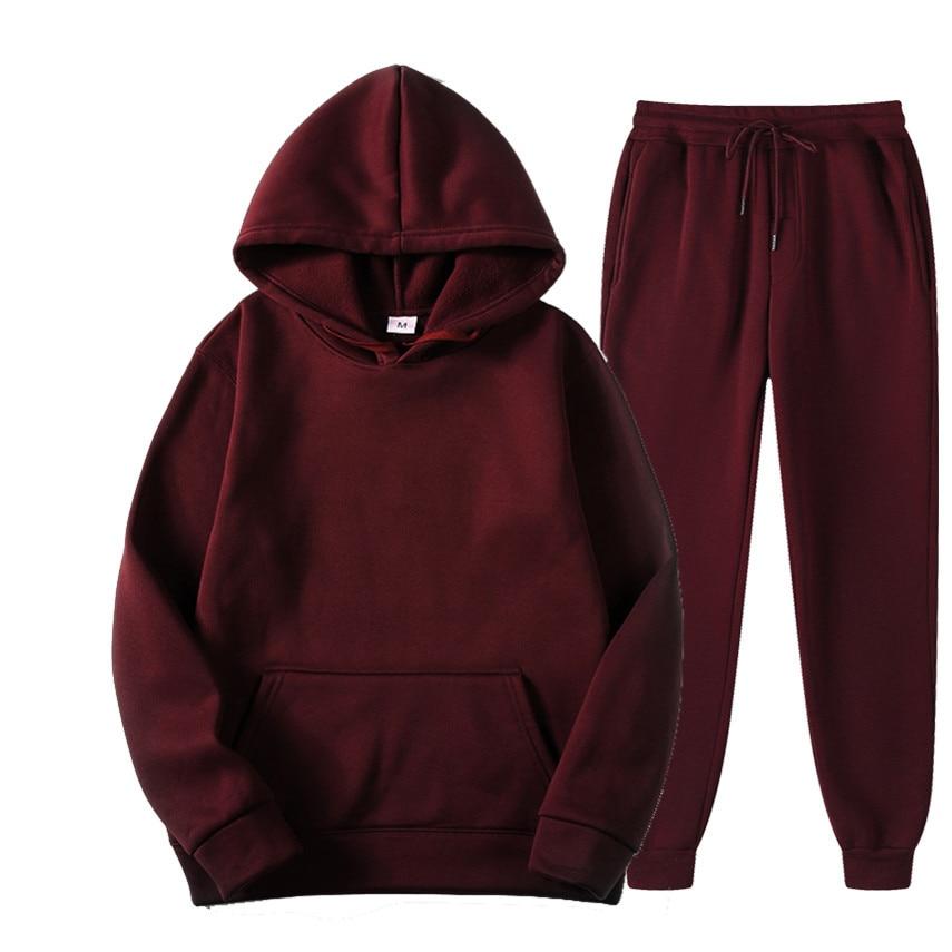 Men's Sets Autumn Winter Track Suits Hooded Sweatshirt Sweatpants Fashion Slim Fit Male Hip Hop Pullover Hoody Top + Pants