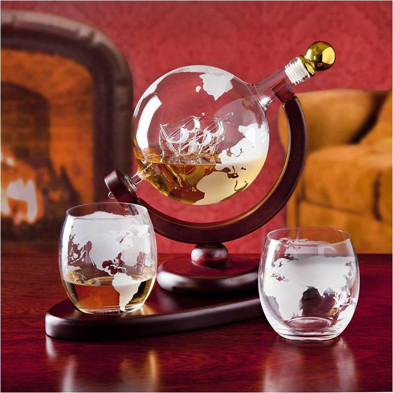 Creative Glass Whiskey Wine Glass Wine Bottle Wine Set Crafts Globe Wine Holder Set Home Decoration Red Wine Decanter Sake Set