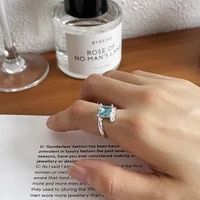 silvology 925 sterling silver blue square zirconia rings for women irregular stagger texture luxury korea rings designer jewelry