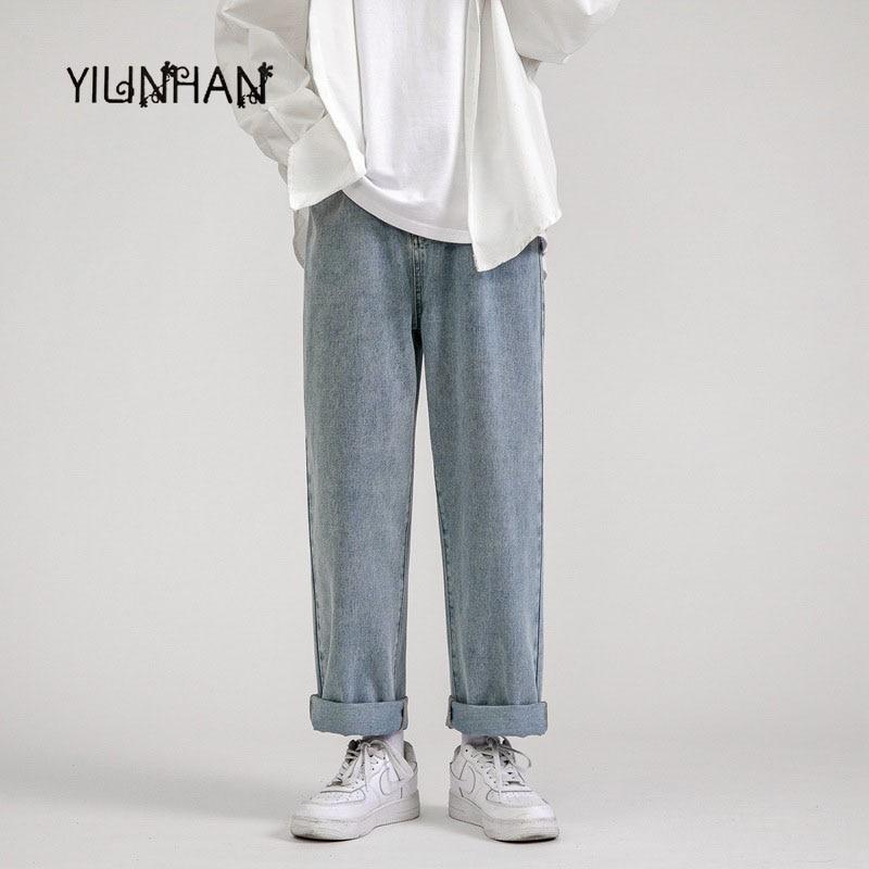 YILINHAN Jeans Men Loose Straight Leg Pants Elastic Waist Teenager Casual Elastic Pants Mouth  Clothes Wide Leg Long Retro Pants