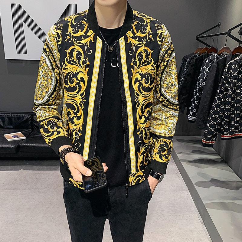 Роскошные Дизайнерские куртки большого размера d 5xl, мужские золотые бомберы в стиле ретро, большие размеры, шаровые куртки, королевская оде...