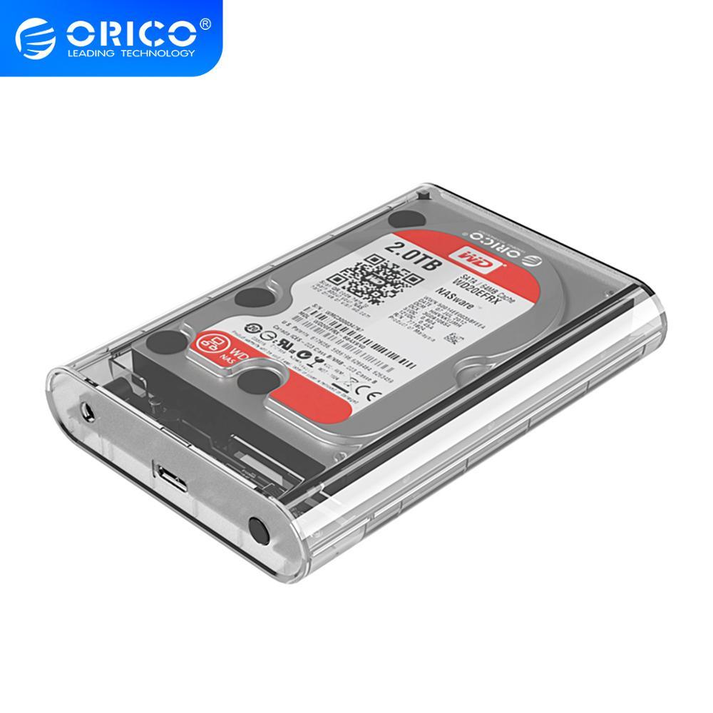 ORICO Funda de disco duro SATA de 3,5 pulgadas a USB transparente 3,0 HDD soporte 16TB HDD 5Gbps con 12V de potencia caja de adaptador