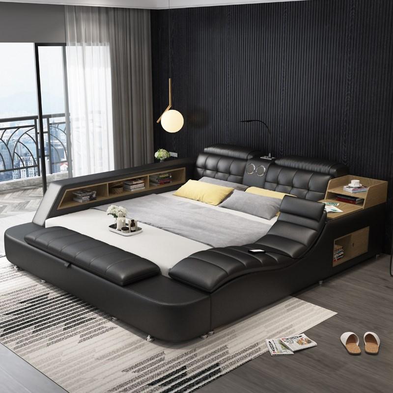 جلد طبيعي إطار السرير سرير لينة مدلك التخزين الآمن المتكلم LED ضوء غرفة نوم كاما آيفون إعادة شحن بلوتوث آمنة USB