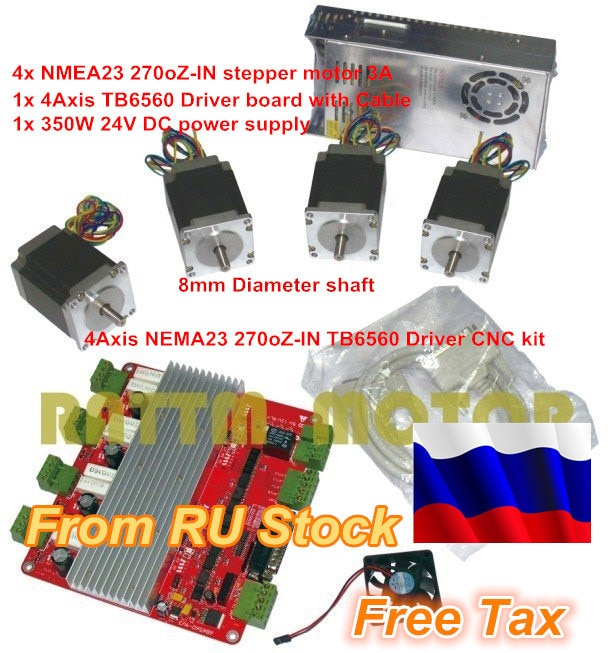 RU shift 4 Axis juego de controladores CNC 4 Uds NEMA23 270ozoin motor paso a paso 3A y 4 Axis TB6560 Placa de controlador y 350W 24V fuente de alimentación