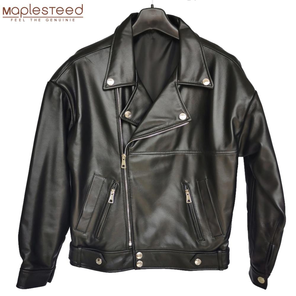 Maplesteed jaqueta de couro genuíno feminino macio 100% natural de pele de carneiro drop-shoudler solto busto de tamanho grande 110-126cm m487